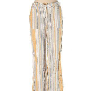 Land 'n Sea Gold/Blue/White Striped Linen Pants S